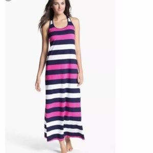 Tommy Bahama L Maxi Dress Pink Blue Stripe Regatta